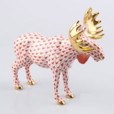Herend Porcelain Fishnet Figurine of a Moose